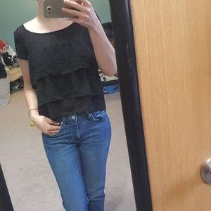 Tops - Black zip up shirt